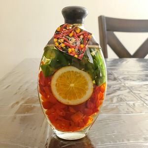 Decorative Fruit & Vinegar Bottle - 7.5""